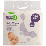 Baby U Fragrance Free Baby Wipes 240pk